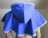 Hooded Cowl Royal Blue with Silver Celtic Trim Elven Medieval Woodland