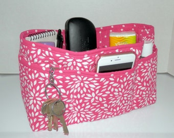 Quilted Purse Organizer Insert With Enclosed Bottom Large - Hot Pink and White Floral Burst