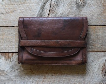 Vintage Leather Clutch, Vintage Purse, Brown Leather Purse, Women's Vintage Purse, Vintage Handbag, Clutch Purse, Handbag, Bags and Purses