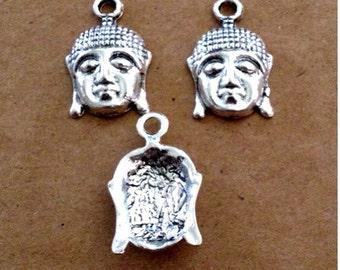 6 Buddha charms pendants- Antique Silver - SC213 #GW