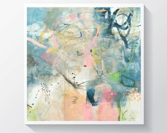 """Abstract painting, Original mixed media painting on stretched canvas, Soft colors painting.  24"""" x 24"""""""