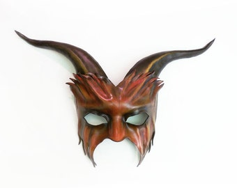 Leather Goat Mask in red and black  lightweight and easy to wear with heavy elastic strap