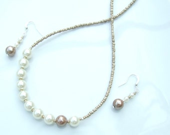 Cream & Beige Jewellery SET - Glass Pearl Bead Offset Necklace and Earrings