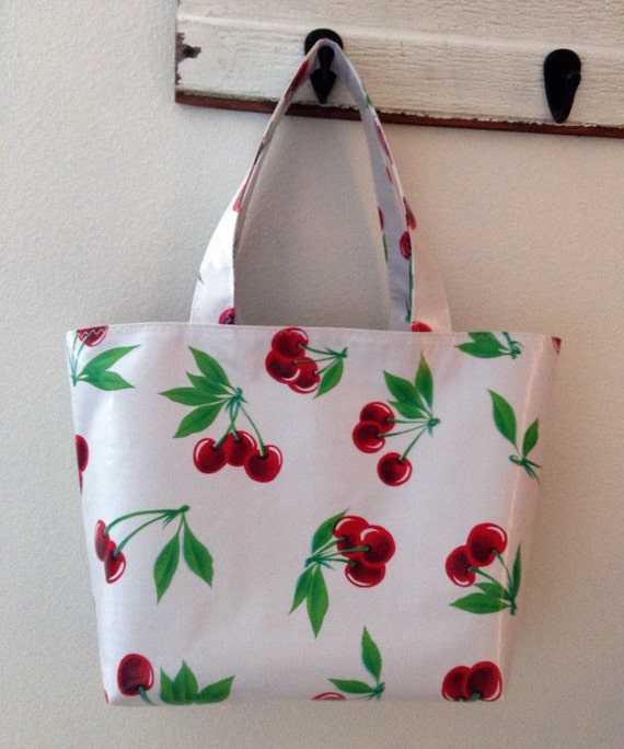 Beth's Medium Red Cherry Oilcloth Tote Bag