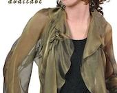 "Promo Sale Silk Chiffon Jacket - Blouse ""ANNA""/ Sizes  XS - 4X/ 33 colors"