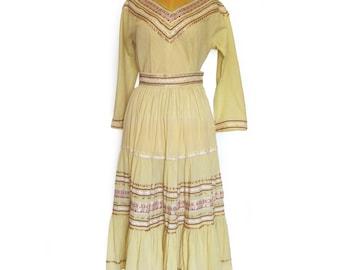 Vintage Southwest Patio Dress / Fiesta Dress in Pale Yellow with Metallic Rick Rack Trim / Western Dance Dress