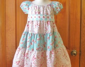 Toddler girl tiered peasant dress with sash, twirly dress, teal and pink, shabby chic, size 3T, party dress, OOAK, ready to ship, birthday