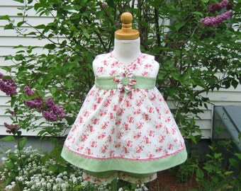 Baby Girl sleeveless dress with matching shorts, shaded pink cherry blossoms, sage green, size 6months, ready to ship, Easter dress, Infant