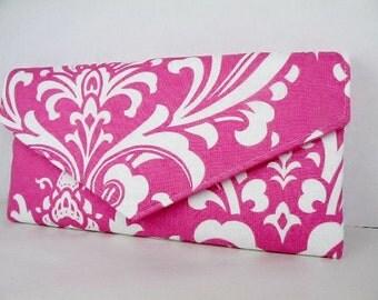 Hot Pink Damask Envelope Clutch Purse Wedding Bridesmaid Gift  Hot Pink and White OZBOURNE Damask