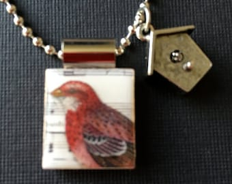 Red bird scrabble pendant, birdhouse charm, red bird with birdhouse, bird jewelry, handmade jewelry, red bird necklace, scrabble tile, charm