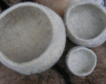 nesting - set of 3 nesting wool bowls, wet felted with wool from my own sheep, eco, sustainable, natural fibers