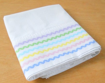 Vintage Single Pastel Rick Rack Pillowcase • Vintage Cotton Dan River Pillowcase • Pastel Blue Pink Purple Yellow Green