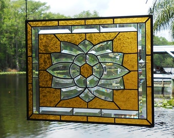 Stained Glass Transom Window, Traditional Stained Glass Window Panel, Beveled Glass Sunburst, Sunrise or Sunset, Unique Window Suncatcher