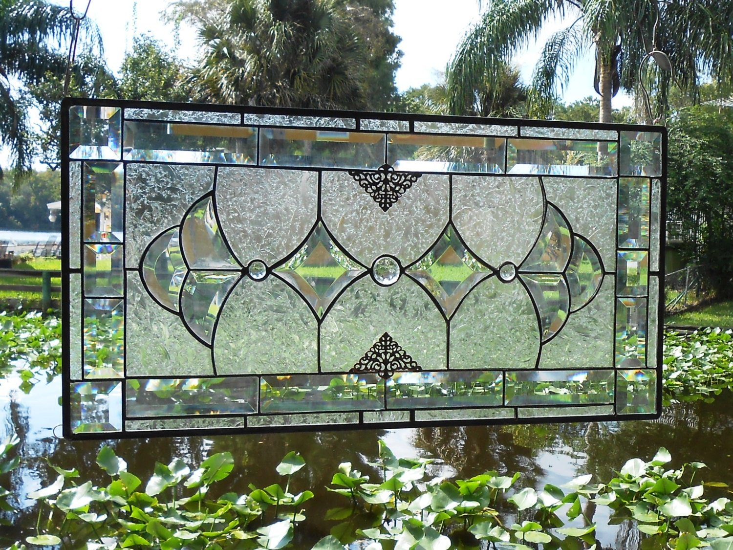Beveled Glass Panel Transom Antique Stained Glass By