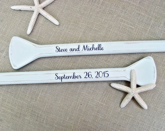 "52"" Personalized Painted Pair (2) Paddles for Nautical Wedding Guest Book Alternative with Bride and Groom Names and Wedding Date / Oars"