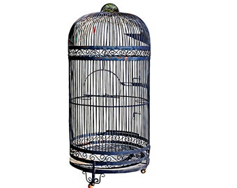 1960s Huge Bird Cage, Vintage Parrot or Large Bird Home, Floor Standing