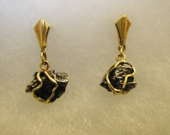 METEORITE Earrings, 14k Gold, for pierced ears, HANDMADE & NEW!