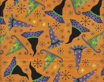 RJR Halloween Hocus Pocus 1952 2 Orange with Witches Hats by the yard