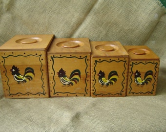 Vintage Stacking Wood Canisters Roosters Canisters Wood Pecker Wood Ware 1960s