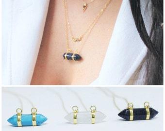 Horizontal Crystal Necklace, Long Necklace, Crystal Bar Necklace, Layering Necklace, Stone Necklace, Boho Necklace, Crystal jewelry