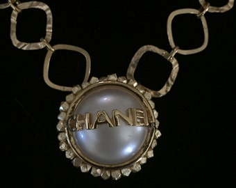 Gold Filled Necklace Made from Vintage Chanel Earring