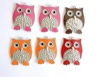 6 Silver-tone Pink, Brown, Orange and Red Epoxy Owl Charm Pendants