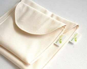 Back to School SALE Natural Sandwich and Snack Bag Set of 2 - Organic Cotton, Eco Friendly, Reusable -- Back to School