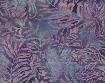 NEW - One fat quarter - Purple and Light Blue Ferns Batik - 111501089