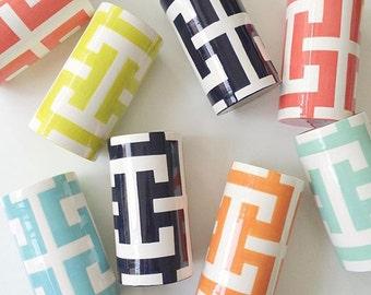 Handmade, Pottery, Vase, Greek Key, Key, Pattern, Colorful