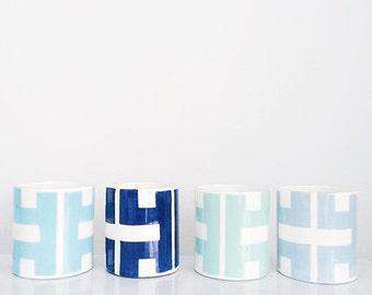 Handmade, Pottery, Jilly, Cup, Vase, Greek Key, Key, Pattern, Blue