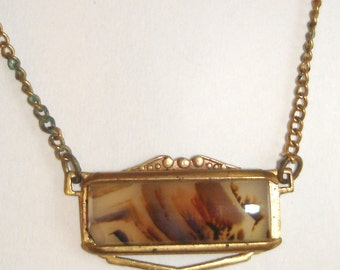 vintage gold tie bar with agate pendant