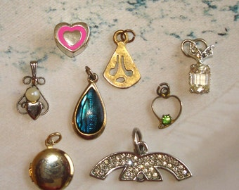 mixed lot necklace pendants 8 total hearts,  teardrop, locket etc.