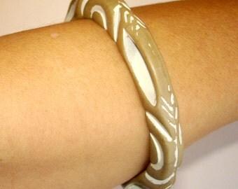 vintage tribal white washed taupe cut out bangle bracelet