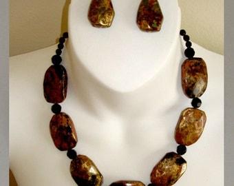 vintage Napier moon rock necklace pierced earring set