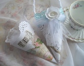 Tea Party Bridal Shower Tussie Mussie Gift Cone Victorian Unique Gift Box For Bride Place Setting Shower Decor Handmade by handcraftusa