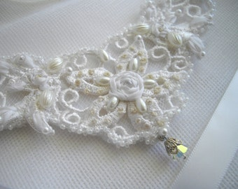 White Illusion Vintage Inspired Wedding Wrist Cuff Ribbon Tied Wrist Hand Adornment With Vintage Pearls Ribbon Embroidery handcraftusa Etsy
