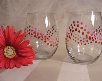 bridesmaid  wine glasses  - also perfect for a baby girl shower