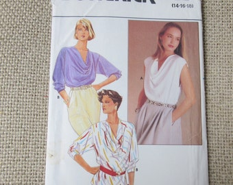 Vintage Butterick Sewing Pattern sizes 14 16 18 Pullover TOP Blouse Sleeveless or with Sleeves Loose Fitting Draped UNUCUT Factory Folds 80s