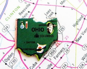 Ohio Brooch - Pin / Unique Wearable History Gift Idea / Upcycled Vintage 1961 Wood Puzzle Piece / Timeless Gift Under 25