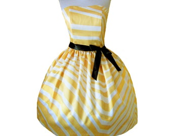 Yellow and Cream zigzag Dress LIMITED EDITION Chic Doll inspired Womens Retro inspired Dress