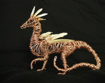 "Small Feather Dragon - ""Rose Gold"" colored Copper Wire Sculpture"