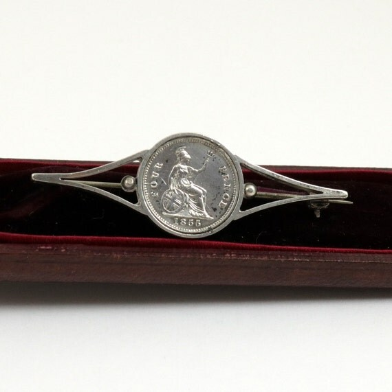 Antique Victorian Queen Victoria 1855 Silver Coin Brooch Pin