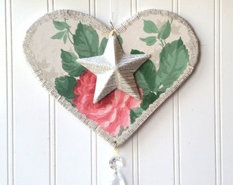Pink rose wallpaper Heart wall hanging Valentine ornament upcycled vintage wallpaper French text star chandelier prism Romantic