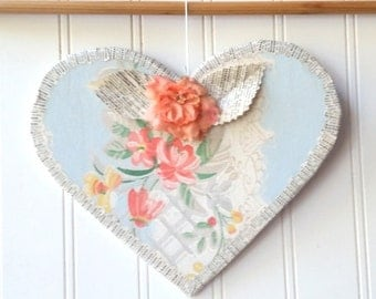 Blue floral Heart wall hanging ornament coral millinery flower vintage wallpaper French text Farmhouse Cottage Chic decor