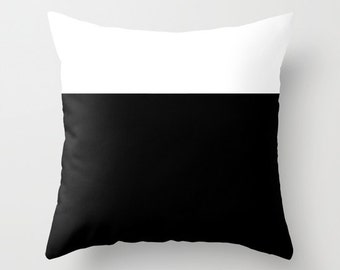 Colorblock Black White Throw Pillow, Decorative Pillow Cover, Black White Cushion, Graphic Design, Modern Decor, Color Block, Contemporary