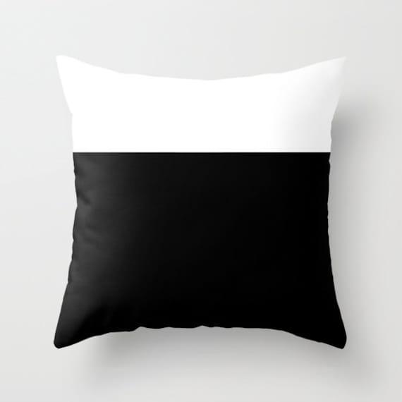 Colorblock Black White Throw Pillow, Decorative, Office, Black White Cushion, Graphic Design, Modern Decor, Color Block, Contemporary, Dorm