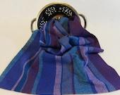 Handwoven Cotton/Linen Towel for Kitchen or Bath - Grape Harvest - Handtowel, Kitchen Towel, Handwoven Towel, Blue Towel