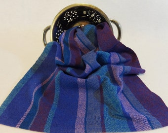 Handwoven Cotton/Linen Towel for Kitchen or Bath - Grape Harvest - Handtowel, Kitchen Towel, Handwoven Towel, Blue Towel (15-19 Blue)