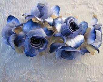 36pc NAVY Blue White Wired Satin Organza Pearl Rose Flower Applique Bridal Wedding Bouquet