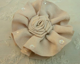 3 Inch TAN Ribbon Suede Fabric Rose Flower Bow Applique Hat Pin Baby Pageant Bridal Hair Accessory